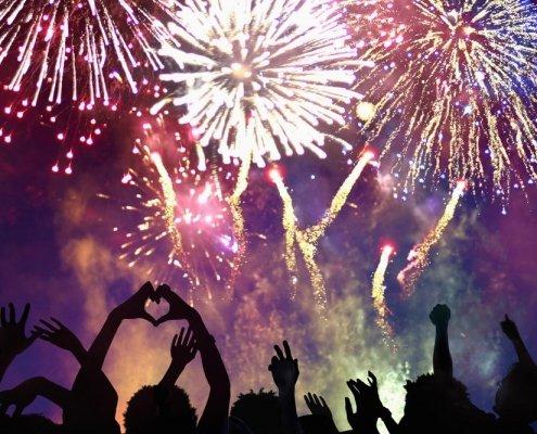 People celebrating new year fireworks