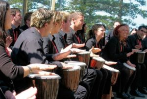 Drum together is a fun and inclusive team bonding and team building activity